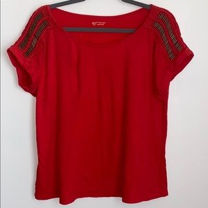 Red Beaded Sleeves Top Size Medium